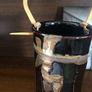 Vintage Accents - Vintage Fire Glazed Pottery Vessel with Handle